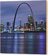 St Louis Black N Blue Wood Print