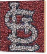 St. Louis Cardinals Bottle Cap Mosaic Wood Print by Paul Van Scott