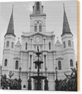 St Louis Cathedral And Fountain Jackson Square French Quarter New Orleans Black And White Wood Print