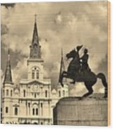 St. Louis Cathedral And Statue Wood Print