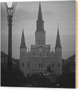 St. Louis Cathedral At Dawn Wood Print