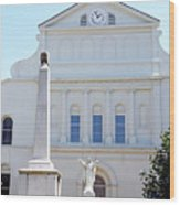 St. Louis Cathedral Back Lawn Wood Print