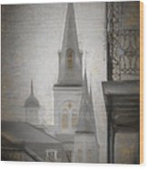St. Louis Cathedral From Chartres St. - Nola Wood Print
