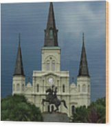 St Louis Cathedral In Jackson Square Wood Print