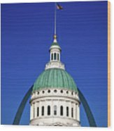 St Louis City Hall With Arch In Background Wood Print