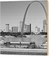 St Louis City Scape In Black And White Wood Print