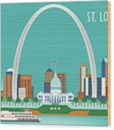 St. Louis Missouri Horizontal Skyline Wood Print