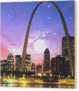 St Louis Skyline As Night Falls Wood Print