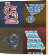 St Louis Sports Fan Recycled Vintage Missouri License Plate Art Cardinals Blues Rams Wood Print