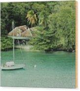 St. Lucia Mooring Wood Print