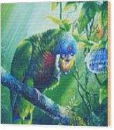 St. Lucia Parrot And Wild Passionfruit Wood Print