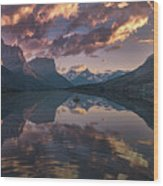 St Mary Lake At Dusk Panorama Wood Print