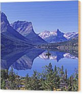 St Mary Lake Glacier National Park Mt Wood Print