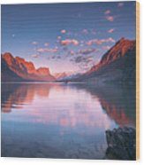 St Mary Lake In Early Morning With Moon Wood Print