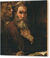 St Matthew And The Angel Wood Print by Rembrandt Harmensz van Rijn