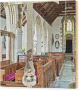 St Mylor Cross Reflections Wood Print