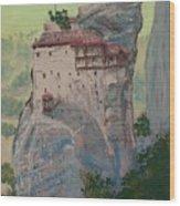 St Nicholas Anapapsas Monastery - Meteora - Greece Wood Print