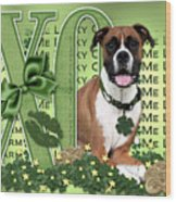 St Patricks Day - My Boxer Is Me Lucky Charm Wood Print by Renae Laughner