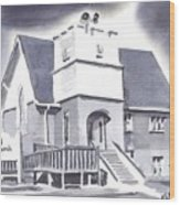 St Paul Lutheran With Ink Wood Print