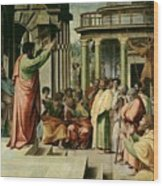 St. Paul Preaching At Athens  Wood Print by Raphael