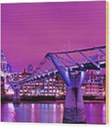 St Pauls And Millennium Bridge Over The River Thames Wood Print