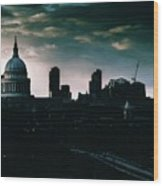 St Paul's Cathedral And Millennium Bridge In The Evening In London, England Wood Print