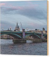 St. Paul's Cathedral Behind The Southwark Bridge During Sunset Wood Print