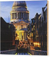St. Paul's Cathedral From Millennium Bridge Wood Print