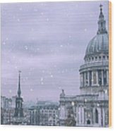 St Pauls Snow Wood Print