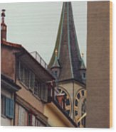 St. Peter Tower Zurich Switzerland Wood Print by Susanne Van Hulst