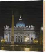 St Peter's At Night Wood Print
