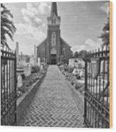 Church And Gravemarkers Wood Print