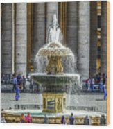 St. Peter's Square Fountain At The Vatican Wood Print