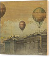St Petersburg With Air Baloons Wood Print