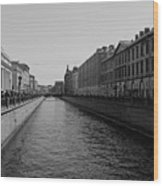 St Petersburg Waterway - Black And White Wood Print