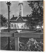 St. Simons Lighthouse Black And White Wood Print