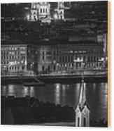 St Stephens Basilica Night Bw Wood Print
