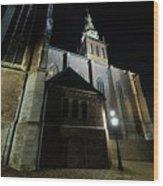 St. Steven's Church In Nijmegen At Night Wood Print