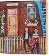 St. Urbain Street Boys Wood Print