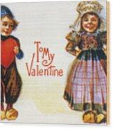 St. Valentines Day Card Wood Print