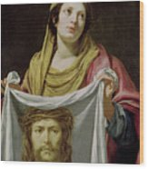 St. Veronica Holding The Holy Shroud Wood Print