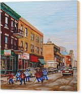 St. Viateur Bagel Hockey Game Wood Print