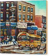 St. Viateur Bagel With Hockey Bus  Wood Print