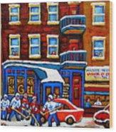 St Viateur Bagel With Hockey Montreal Winter Street Scene Wood Print