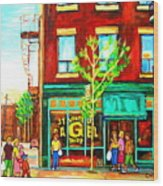 St. Viateur Bagel With Shoppers Wood Print