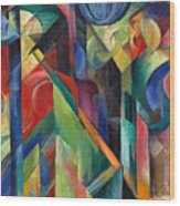 Stables By Franz Marc Bright Painting Of Horses In A Stable Wood Print