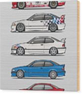 Stack Of Bmw 3 Series E36 Coupes Wood Print