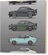 Stack Of Mazda Savanna Gt Rx-3 Coupes Wood Print