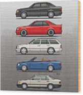 Stack Of Mercedes Benz W124 E-class Wood Print