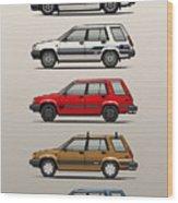 Stack Of Toyota Tercel Sr5 4wd Al25 Wagons Wood Print